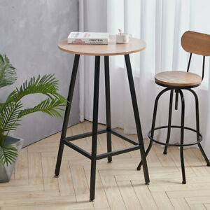 Small Modern Dining Table Tall Breakfast Bar Cafe Kitchen Space Saving Wood Top