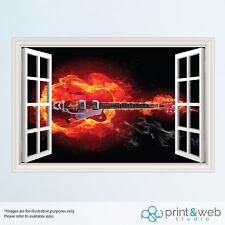 COOL chitarra Fire Burst 3D Finestra Vista Adesivo Parete Decalcomania Arredamento Arte Murale