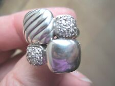 "David Yurman 3/4"" Chiclet Diamond Cable Split Shank Cable Ring Size 6"