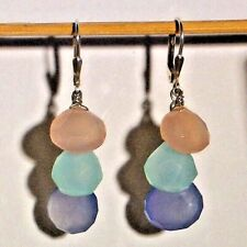 CHALCEDONY 3 Drop Earrings Pink, Aqua & Blue ~ Sterling Silver Lever Backs ~ DKC