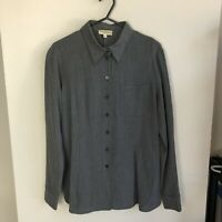 Georgio Armani Le Collezioni Women's 8 Charcoal Grey Long Sleeve Button Down Top