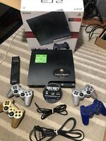 Sony PlayStation 3 Slim Console System + Cords, 4 Controllers,Box,game, 120GB