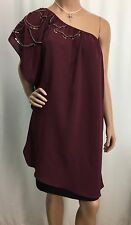 Fab'rik Maroon Red With Silver Beads One Shoulder Dress Shirt Womens Size S