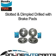 Front & Rear Slotted Drilled Disc Rotors + Bendix GCT Brake Pads BA BF FG Falcon