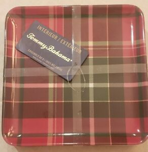 "NEW Tommy Bahama Set 6 Christmas Red Tartan Plaid 6""x6"" Appetizer Dessert Plates"