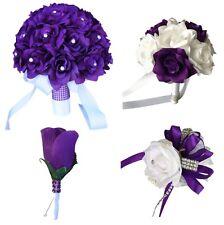 10pc set - Purple and White Roses Artificial Flower Arrangement