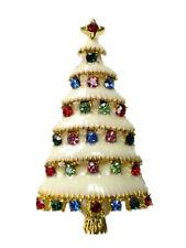 Christmas Tree Pin Brooch Multicolor Gorgeous Rhinestone Crystal