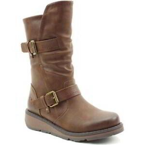 Heavenly Feet Hannah 2 Womens Ladies Vegan Brown Wedge Zip Up Boots Size 4-8