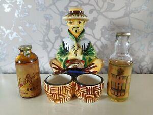 Vintage Miniature ceramic DRIOLI Chinaman with 2 bottles