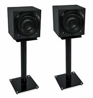 Mount-It! Floor Speaker Stands for Satellite Speakers System Glass and Aluminum