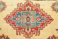 Geometric Super Kazak Area Rug Hand-Knotted Oriental Wool Kitchen Carpet 4' x 6'