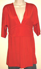 Banana Republic Red-Orange 3/4 Sleeve Silky Stretch V-Neck Top Size Medium NWT