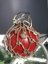 """Vintage Red Japanese Netted Fishing Float 10""""d Rare Wow!"""