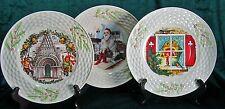 "Irish Belleek 844 Set of 3 Plates ""CHRISTMAS IN IRELAND"" Enchanted Holly Pattern"