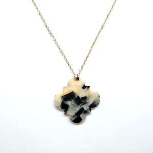 Acetate Acrylic Leopard Tortoise Shell Quatrefoil Floral Pendant Long Necklace