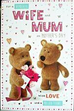 WONDERFUL WIFE & MUM ON MOTHER'S DAY CARD ~ BARLEY BEAR DESIGN QUALITY CARD
