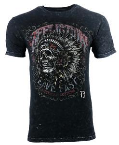 AFFLICTION Men's T-shirt AC IROQUOIS BLACK LAVA Biker Skull Tattoo MMA S-4XL