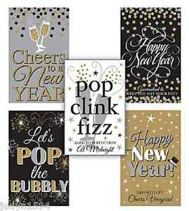PACK OF 5 NEW YEAR WINE BOTTLE LABELS PARTY TABLE DECORATION STICKERS YEAR'S EVE