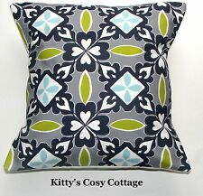 "16"" New Retro Chic 'Kaleidoscope' Smoke and Lime fabric cushion cover"