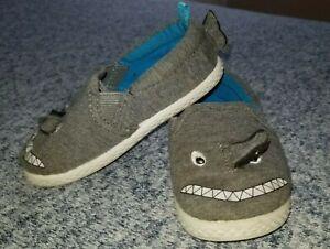 Baby Boys Carter's Gray Shark Slip On Clog Boat Shoes Size 6