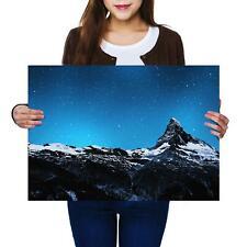 A2 | Monte Cervino MONTAGNA NOTTE STELLATA Taglia A2 foto stampa poster art regalo #8581