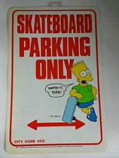 Vintage 1990 The Simpsons Skateboard Parking Only Plastic Sign NOS 11.5x17.5 N4B
