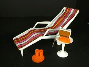 Pr Vtg 1963 Mattel Barbie Go Together Chaise Lounge Side Table & Accessories