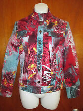 ST. JOHN SPORT By Marie Gray VIBRANT COLORED COLLAGE PRINT JEAN JACKET NWOT SZ:P