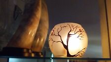Candles Holders Frosted Glass Vase Hand Painted Brown tree & birds Gift Light
