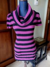 Womens INC Short Sleeved Turtleneck Sweater Black & Magenta Striped  SZ L NWT