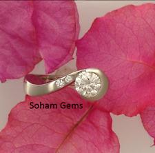 1.00 Carat Round Forever One Moissanite Diamond 14K White Gold Engagement Ring