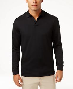 Tasso Elba Men's Black Supima Blend Long-Sleeve Polo Shirt Size Small $60 M2/001
