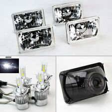"FOUR 4x6"" Semi Sealed Glass Clear Headlights w/ 6000K 36W LED H4 Bulbs"
