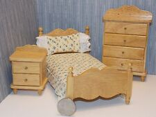 Dollhouse Miniature Oak Single Bed Night Stand & Chest 1:12  one inch scale G3