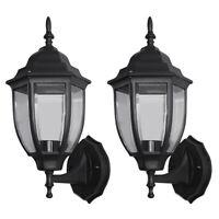 2X Outdoor Exterior Wall Lantern Lamp Light Fixture Sconce Twin Pack Matte Black