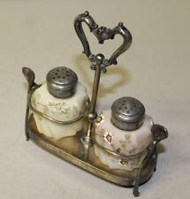 Antique Wavecrest Salt & Pepper Shakers in Silver Plated Meriden Holder