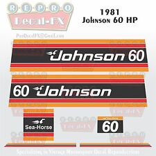 1981 Johnson 60 HP Sea-Horse Outboard Reproduction 6 Piece Marine Vinyl Decals