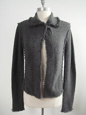 INHABIT thick woven 100% cashmere charcoal gray sweater jacket cardigan size S