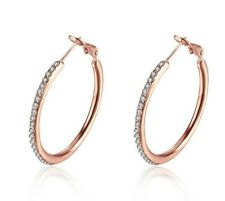 Pave Outside Hoop Earrings Made With Swarovski Crystals in 18k Rose Gold