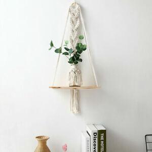 Macrame Hanging Shelves Floating Plant Hanger Rope Wall Decor Flower Pot PD