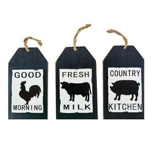 Wooden Tag Shaped Farm Sign set of 3 Pig/Cow/Rooster Country Kitchen Decor