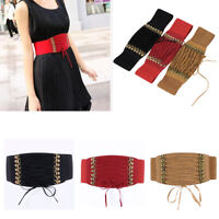 Hot Women Elastic Faux Leather Buckle Waist Wide Belt Stretch Waistband Cinch
