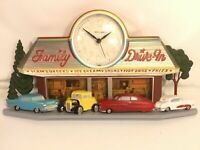 Homco Quartz Wall Clock Vintage Family Car Drive In Diner Coca-Cola Made In USA