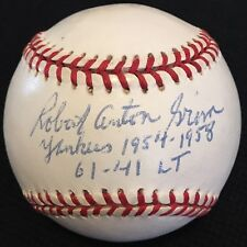 VARY RARE Bob Grim dec96 FULL NAME JSA LOA Signed Baseball New York Yankees