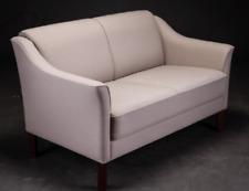 Vintage retro mid century 60s 70s Danish 2 seat sofa couch beige light wool