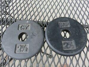 "2 VTG CAP CAST Iron 2 1/2 lb Weight Plates Adjustable Barbell Dumbbell 1"" Stndrd"