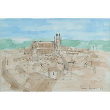 Modern Landscape Townscape Watercolour Painting Tim Jones Orvieto City Italy