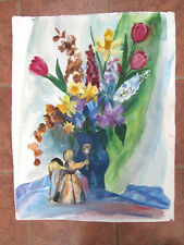 Vintage WATERCOLOR SPRING FLOWERS,Ruth Crosby,Poster Size,28 1/4 x22 1/2,Bright!