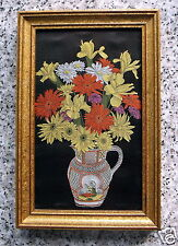 WOVEN EMBROIDERY SILK ART WORK FRAMED OF YELLOW, ORANGE & PINK FLOWERS IN VASE