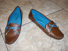 """JOHNSON&MURPHY""Brown Driving Loafers Mocasins Leather Shoes size 7M  CUTE!"